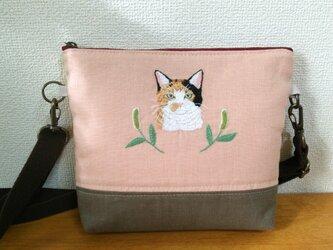 三毛猫の手刺繍ショルダーポーチの画像
