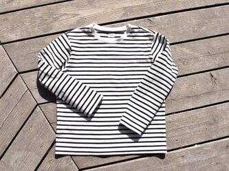 16番手双糸 マリンボーダー クルーネック ロングTシャツの画像