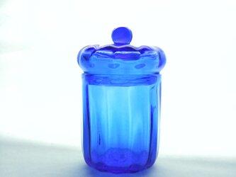 コバルトブルーのガラスの小箱の画像
