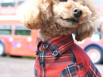 おしゃれな犬の服|ビエラチェックシャツ(レッド)|Sサイズの画像