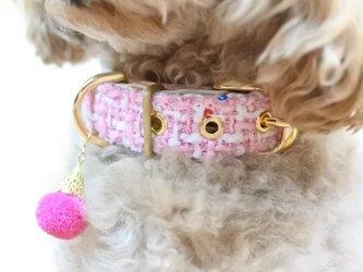 おしゃれな犬の首輪|ツイード・カラーCHISA(キャンディピンク)の画像