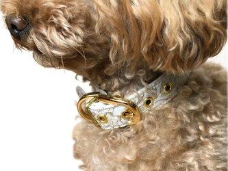 おしゃれな犬の首輪|ツイード・カラーCHISA(ホワイト)の画像
