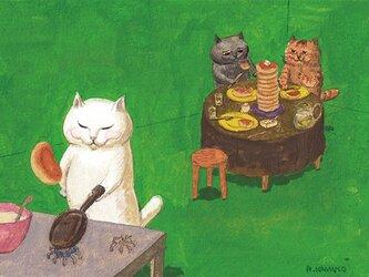カマノレイコ オリジナル猫ポストカード「たくさんのパンケーキ」2枚セットの画像