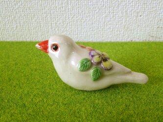 白文鳥 花小鳥/大(陶器)の画像