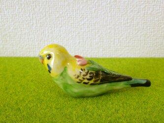 セキセイインコ 花小鳥/大(陶器)の画像