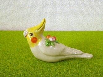 オカメインコ 花小鳥/大(陶器)の画像