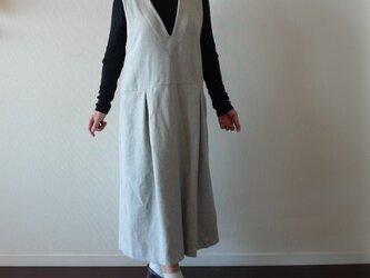 深Vネック 大人のジャンパースカート 起毛コットン 杢グレーの画像