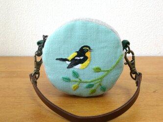 キビタキ 手刺繍まるポーチの画像