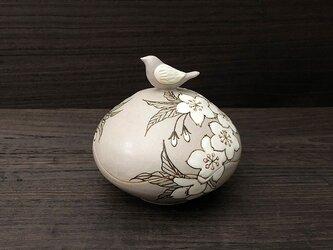 小鳥と桜の蓋物の画像