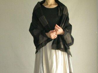 ウールコットンブロックチェック羽織ショールの画像
