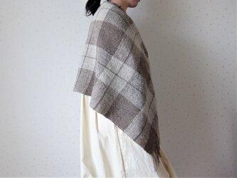 手紡ぎ・手織り ナチュラルウールのブランケットの画像