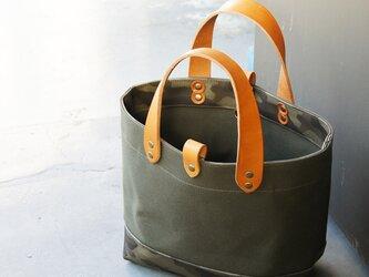倉敷帆布のトートバッグ〜カーキ+迷彩の画像