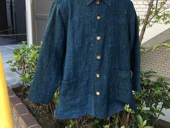 古布のダメージを使ったシャツジャケットメンズL寸相当送料無料の画像