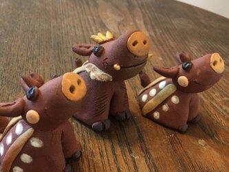 【限定3組】干支のおきもの イノシシ 亥年 亥 猪 陶器 玄関 飾り 縁起物 新年の画像