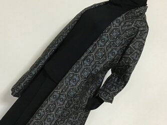 1113    着物リメイク    七分袖ジャケット    村山泥大島紬    幾何学模様の画像