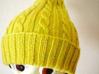 ふんわりやさしい差し色ニット帽【レモンライム】の画像