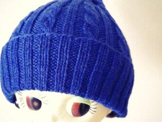 ふんわりやさしい差し色ニット帽【コバルト】の画像