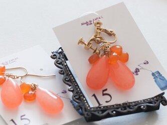○イヤリングThreePetal3ペタルPinkorangeピンクオレンジドロップの画像