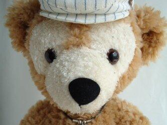 ダッフィー帽子 ハンチング(白×ブルー)の画像