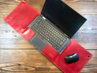 一枚革で作ったラップタイプのノートPCカバー :スタンダードカラー/Lenovo Thinkpad X1 Yoga 専用の画像