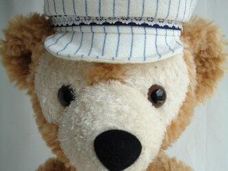 ダッフィー帽子 キャスケット(白×ブルー)の画像