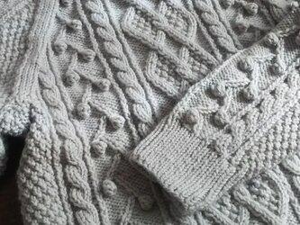 アラン模様のセーター【グレー】の画像