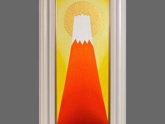 肉筆●金の太陽の大発展赤富士●がんどうあつし油絵WF3ホワイト額付縦68.9cmの画像