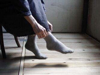 ハイブリッドメリノウール靴下/杢グレーの画像