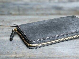 男の本革長財布ラウンドzip --- 希少国産牛革ロロマ [ブラック]の画像