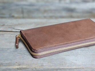 男の本革長財布ラウンドzip --- 希少国産牛革ロロマ [ブラウン]の画像