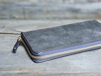 男の本革長財布ラウンドzip --- 希少国産牛革ロロマ [ネイビー]の画像
