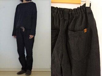 【受注制作】黒天日干し 極厚リネン ゆるりパンツの画像