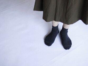 ハイブリッドメリノウール靴下/チャコールグレーの画像