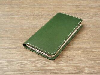 牛革 iPhoneXRカバー  ヌメ革  レザーケース  手帳型  グリーンカラーの画像