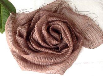 【枇杷の葉染め】ウール&シルクストール(F) ① 小豆色の画像