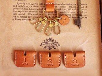 ■ヌメ革のキーカバー【1・2・3】3個+key holder set / C.brownの画像