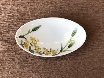 ミニ楕円皿  花散らし「麦絵」の画像