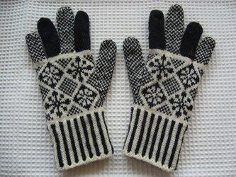 ◆◇花と雪模様の編み込み手袋◇◆(ブラック)の画像