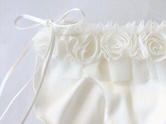 お花 シルク ショーツ オフホワイト Wedding classic ふんどしパンツ (L size)の画像