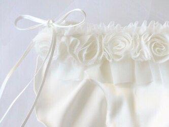 お花 シルク ショーツ オフホワイト Wedding classic ふんどしパンツ (LL size)の画像
