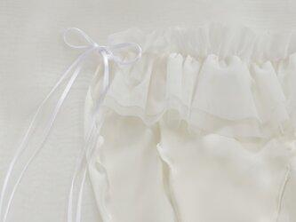 フリル シルク ショーツ オフホワイト  frill&frill  ふんどしパンツ (L size)の画像