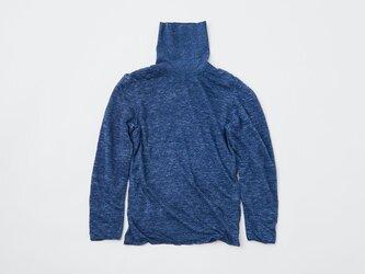 リネンニット 2重長袖タートルネックプルオーバー(ネイビー)レディース|2サイズの画像