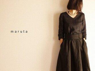 リネンフレアワンピース(ブラック)共布ベルト付 オプションでポケット付の画像