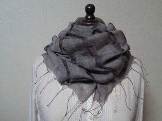 シルク100%袋織りストール(シルバーグレイ)の画像