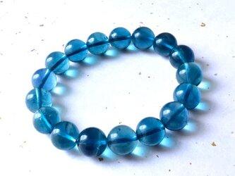 ブルーフローライト Sweet Blue 中国・浙江省産 12mm玉 17cm/ ブレスレット・ヒーリングの画像