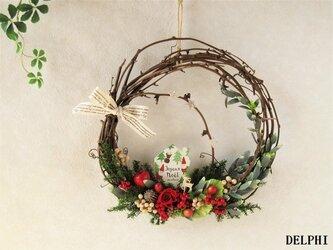 メルヘンチックなクリスマスリース【プリザーブドフラワー】メルヘン 北欧 トナカイ 森 ギフト ドアリースの画像
