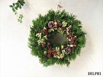 シダーウッドと木の実のリース【アーティフィシャルフラワー】北欧 森 木の実 ギフト ドアリースの画像