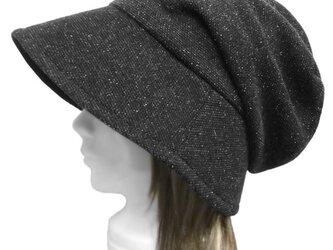 斑染め風ネップ混ニット/女優帽子(ゆったり)◆ブラック系の画像