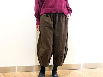 再販!新色!! M~Lサイズ、ジョムトン手織り綿のもんぺパンツ、ブラウン、オールシーズンの画像