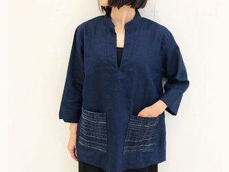 Lサイズ、上質リネンのゆったり七分袖チュニック、可愛いポケット付きの画像